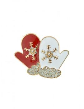Christmas Gloves Rhinestone Brooch - Lava Red