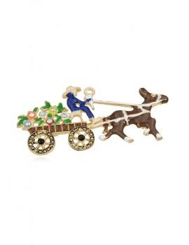 Christmas Carriage Rhinestone Brooch - Brown