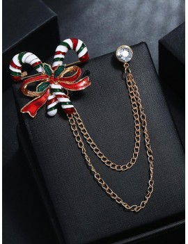 Christmas Bowknot Stick Chain Brooch - Gold