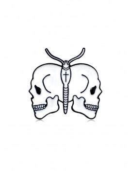 Butterfly Skull Brooch - White