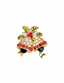 Delicate Christmas Bells Brooch With Rhinestone - Gold
