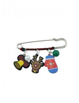 Christmas Bell Elk Safe Pin Brooch - Brown