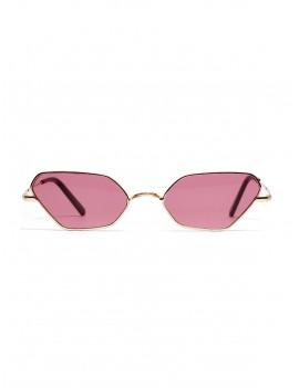Irregular Metal Small Sunglasses - Blush Red