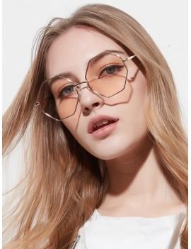 Brief Irregular Metal Sunglasses - Pig Pink