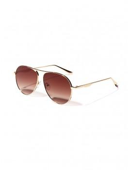 Metal Anti UV Pilot Sunglasses - Coffee
