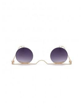 Metal Gradient Rimless Round Sunglasses - Gray