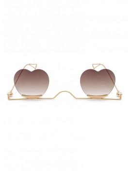 Metal Heart Lens Gradient Sunglasses - Coffee