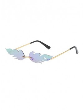 Fire Shape Rimless Metal Sunglasses - Macaw Blue Green