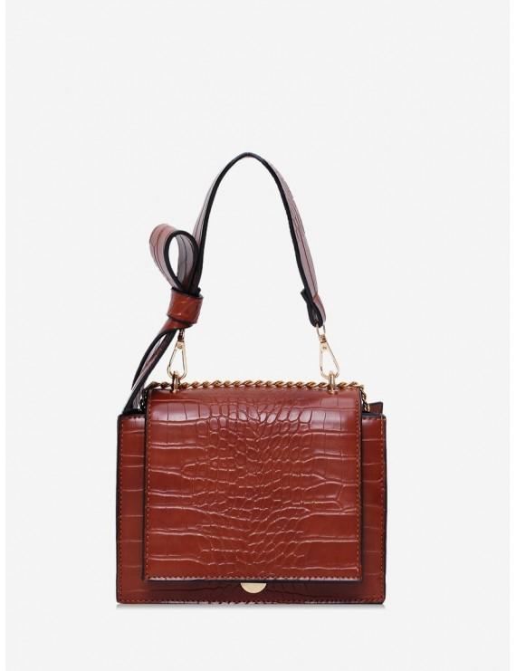 Bowknot Decoration Leather Shoulder Bag - Brown