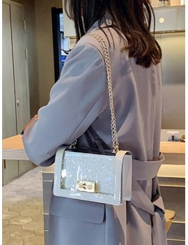 Chain Transparent Square Shoulder Bag - White
