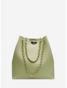 Brief Bucket Chain Shoulder Bag - Green Snake