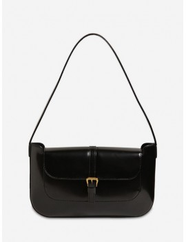 Buckle Solid Retro Shoulder Bag - Black