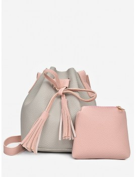 2 In 1 Faux Leather Two Tone Bucket Bag - Gray Cloud