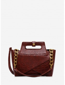 Chain Embossed Handbag - Brown