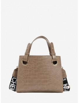 Animal Embossed Letter Strap Crossbody Bag - Light Khaki