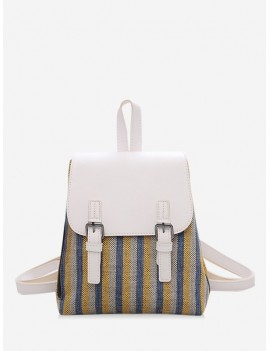 Campus PU Student Leather Backpack - Milk White