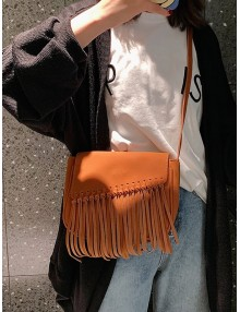 Plain Tassel Hem Flap Crossbody Bag - Brown