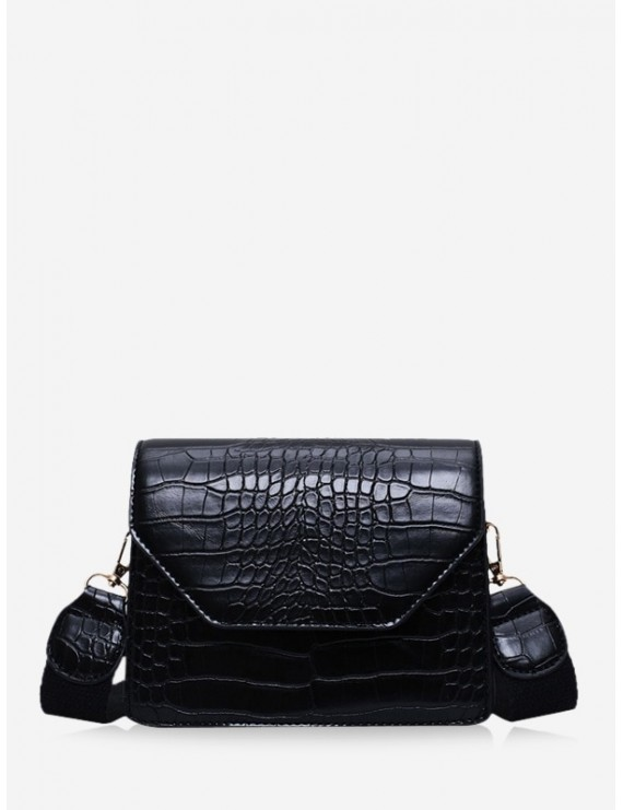 Animal Embossed Wide Strap Crossbody Bag - Black