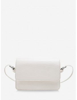Animal Embossed Square Messenger Bag - White
