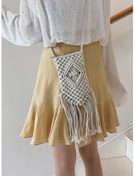 Bohemian Crotchet Fringe Crossbody Bag - White