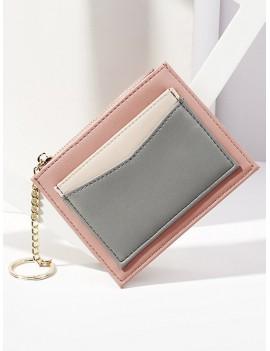 PU Leather Key Ring Card Bag - Rose