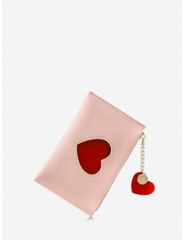 Heart Pattern Pendant Card Coin Purse - Rose