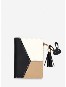 Color Block PU Leather Card Holder - Black