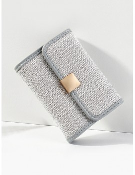 Jointed Glitter Mini Square Student Card Bag - Blue Gray
