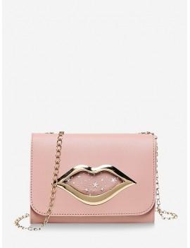 Chain Lips Pattern Shoulder Bag - Rose