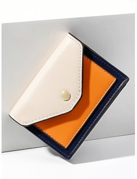 Color-blocking PU Card Wallet - Warm White