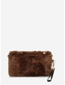 Plain Faux Fur Wrist Clutch Bag - Coffee