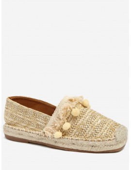 Beach Pom Pom Woven Straw Loafer Shoes - Apricot 36