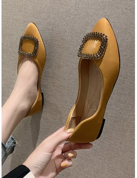 Buckle Decorate Flat Heel Pointed Toe Casual Shoes - Yellow Eu 38