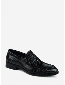 Animal Embossed Pointed Toe Slip On Business Shoes - Black Eu 39