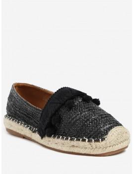 Beach Pom Pom Woven Straw Loafer Shoes - Black 37
