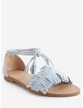 Bohemia Vacation Lace Up Flat Heel Sandals - Light Sky Blue 39