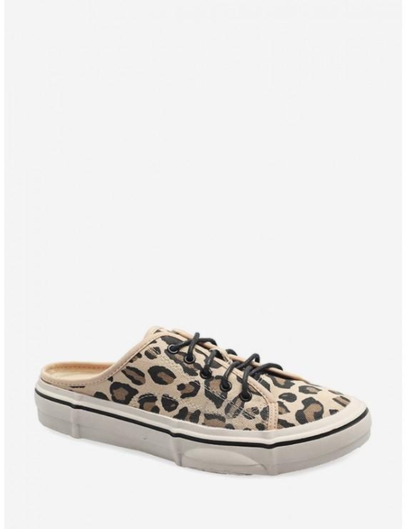 Casual Leopard Pattern Canvas Lace-up Flat Shoes - Leopard Eu 39