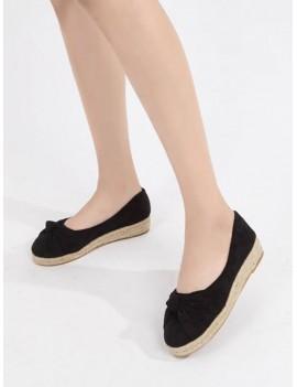 Bowknot Slip On Espadrille Flat Shoes - Black Eu 40
