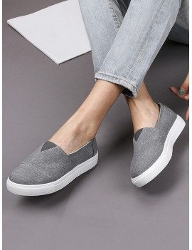 Casual Canvas Loafer Shoes - Gray Eu 43