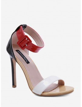 Buckle Strap Basic High Heel Sandals - Chestnut Red Eu 36