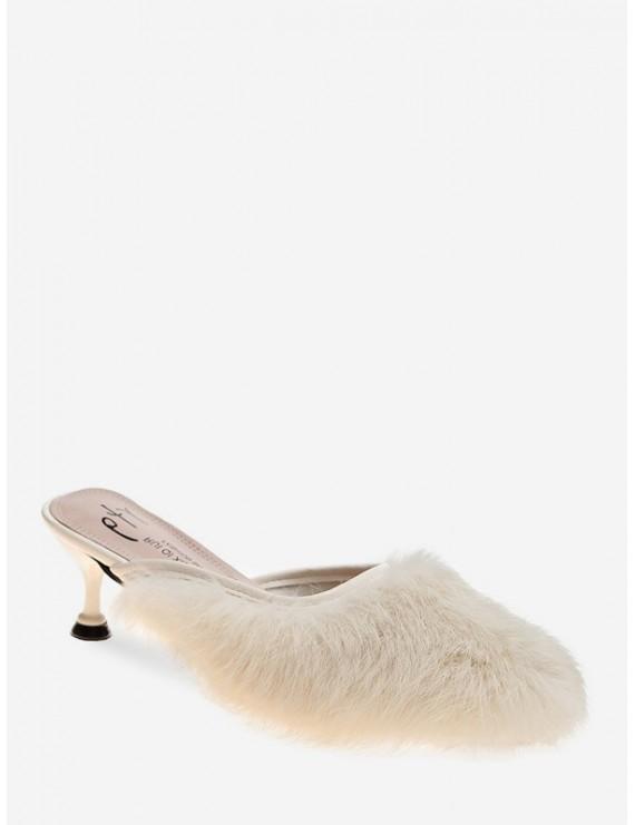 Faux Fur Pointed Toe Heeled Pumps - White Eu 39