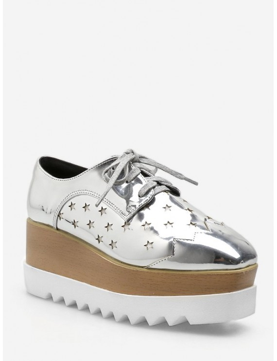 Shiny Star Low Top High Platform Sneakers - Silver Eu 37