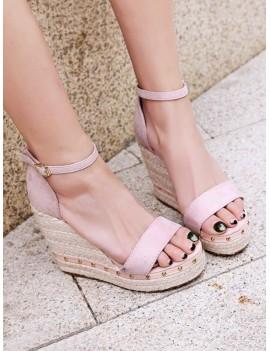 Ankle-strap Rivet Wedge Sandals - Pink Eu 34