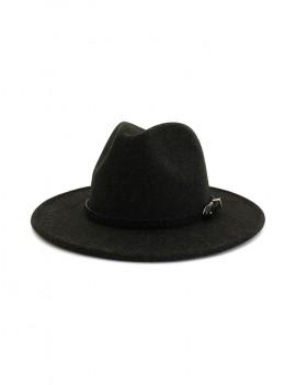 Buckle Belt Design Flat-brim Fedoras - Black