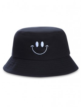 Embroidery Smile Face Bucket Hat - Black