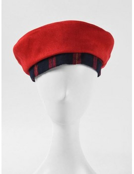 Double Faced Plaid Painter Beret Hat - Red