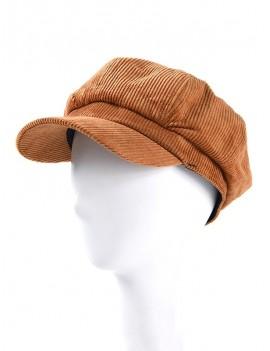 Corduroy Octagonal Winter Vintage Peaked Hat - Brown