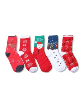 5Pairs Christmas Elk Santa Socks Set - Multi-a