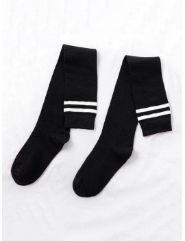 College Striped Sport Knee Length Socks - Black