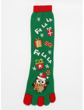 Christmas Owl Full Toe Socks - Clover Green
